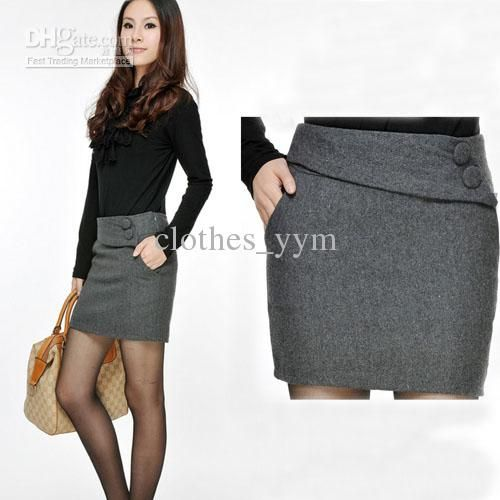 Hot sale fashion work dress suit skirt slim women's pockets skirt ...