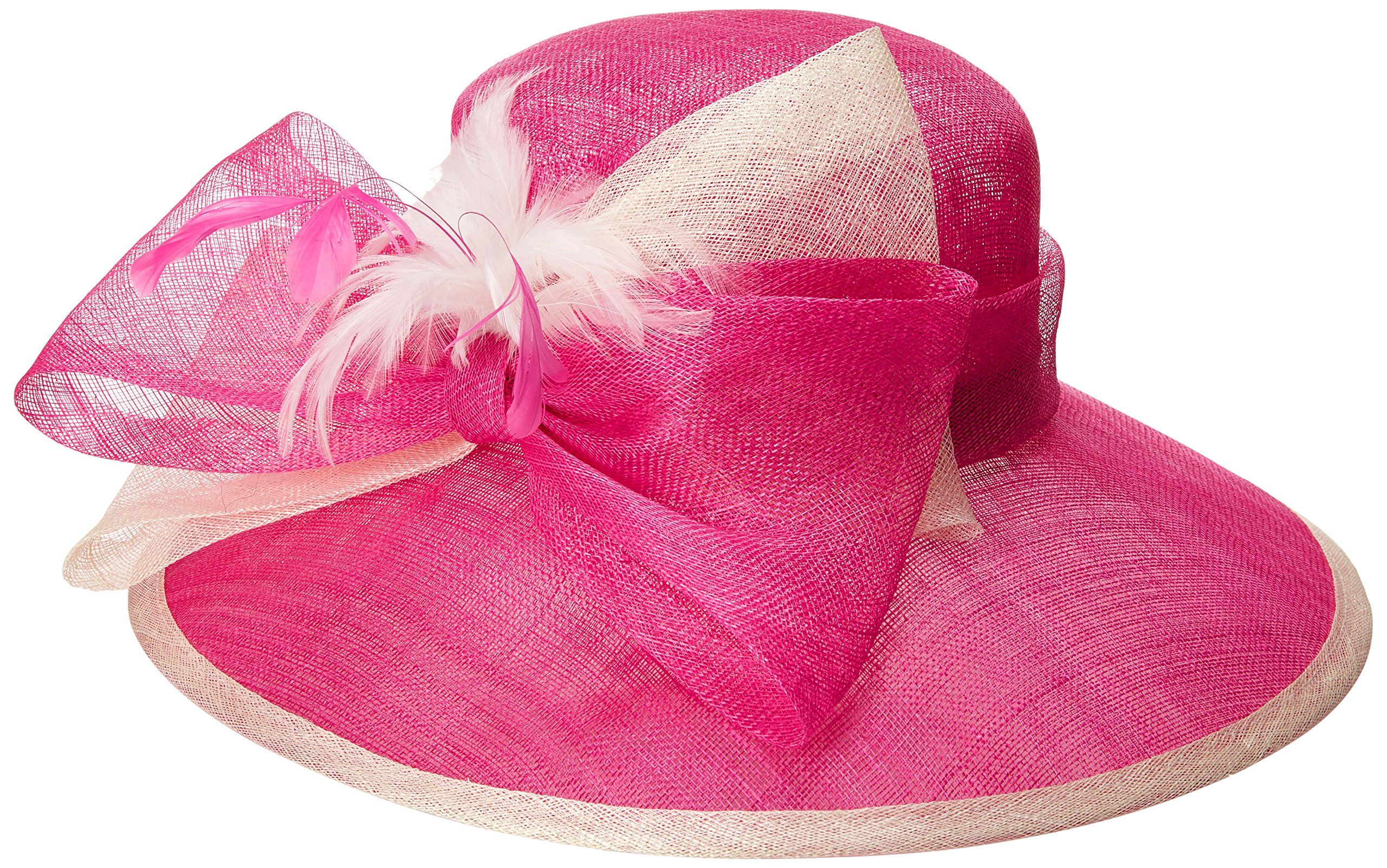7be39d88 Scala Women's Large Sinamay Brimmed Derby Hat with Bow and Feather Trim,  Fuchsia, One Size at Amazon Women's Clothing store: