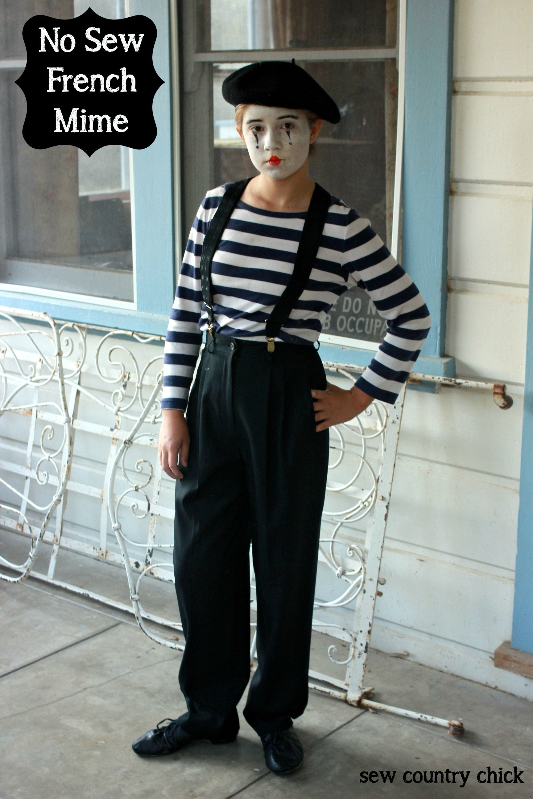 No Sew French Mime Costume Mime costume, Diy costumes