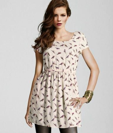 H M Birdies Dress Chiffon Tunic Dress Short Summer Dresses Summer Dresses With Sleeves