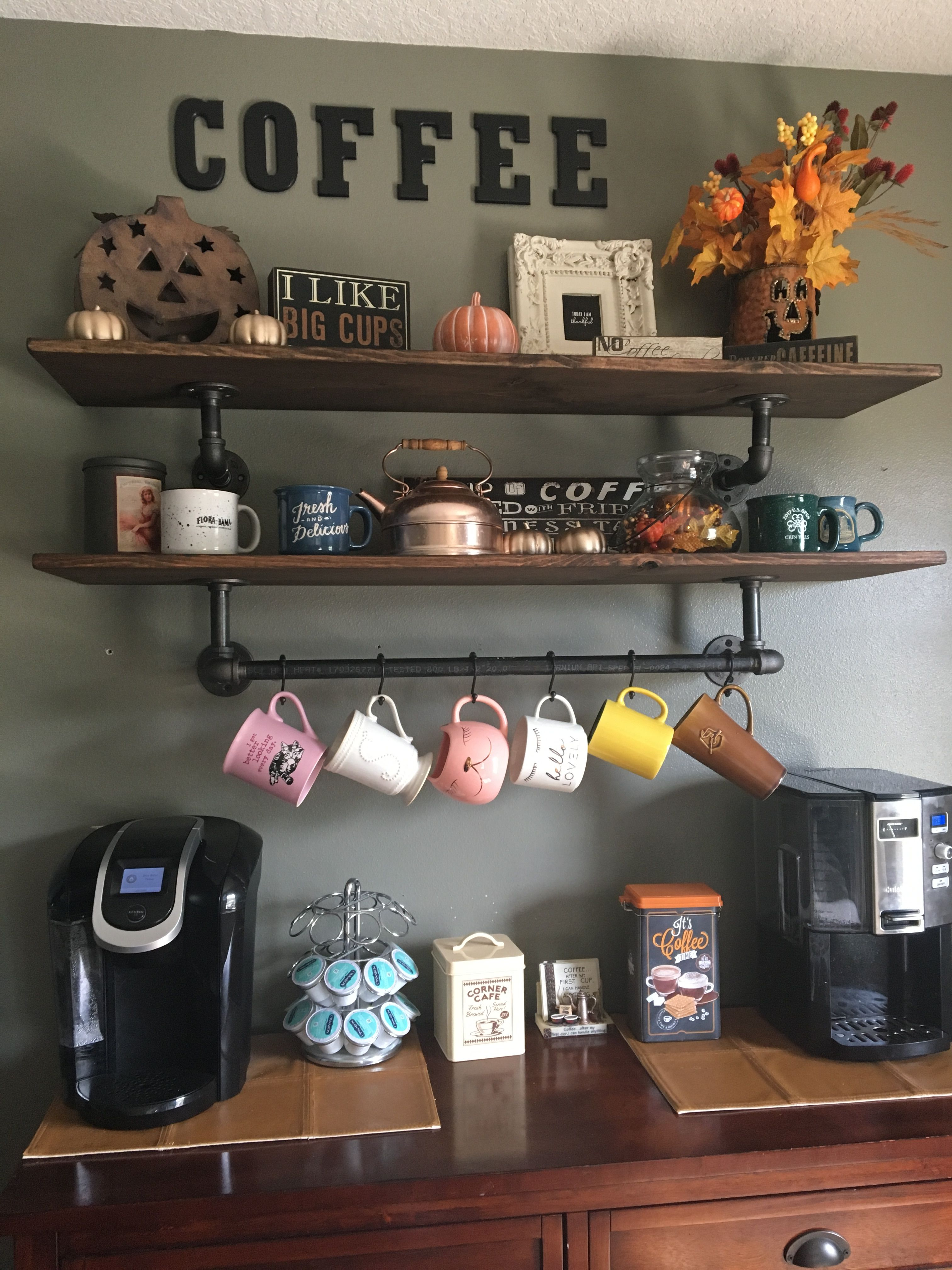 Coffee Bar With Industrial Pipe Shelves For The Home In