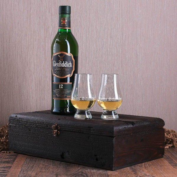 Glenfiddich Whisky Geschenkset mit gravierten Glenclairn Gläsern