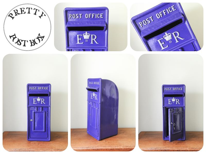Our cadburys purple Royal Mail style post box with silver