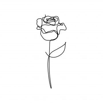 Rose Flower One Line Vector Minimalism Drawing Style Png And Vector Line Art Drawings Line Art Flowers Minimal Drawings