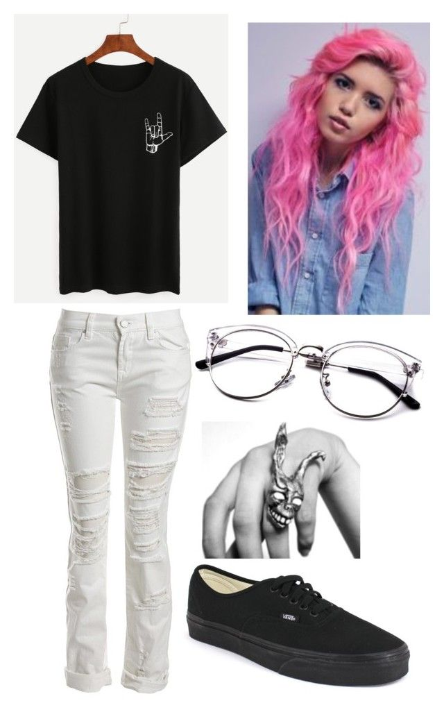"""I actually broke my glasses today on the way to the dentist"" by george-ryan-ross-the-third ❤ liked on Polyvore featuring Sans Souci and Vans"