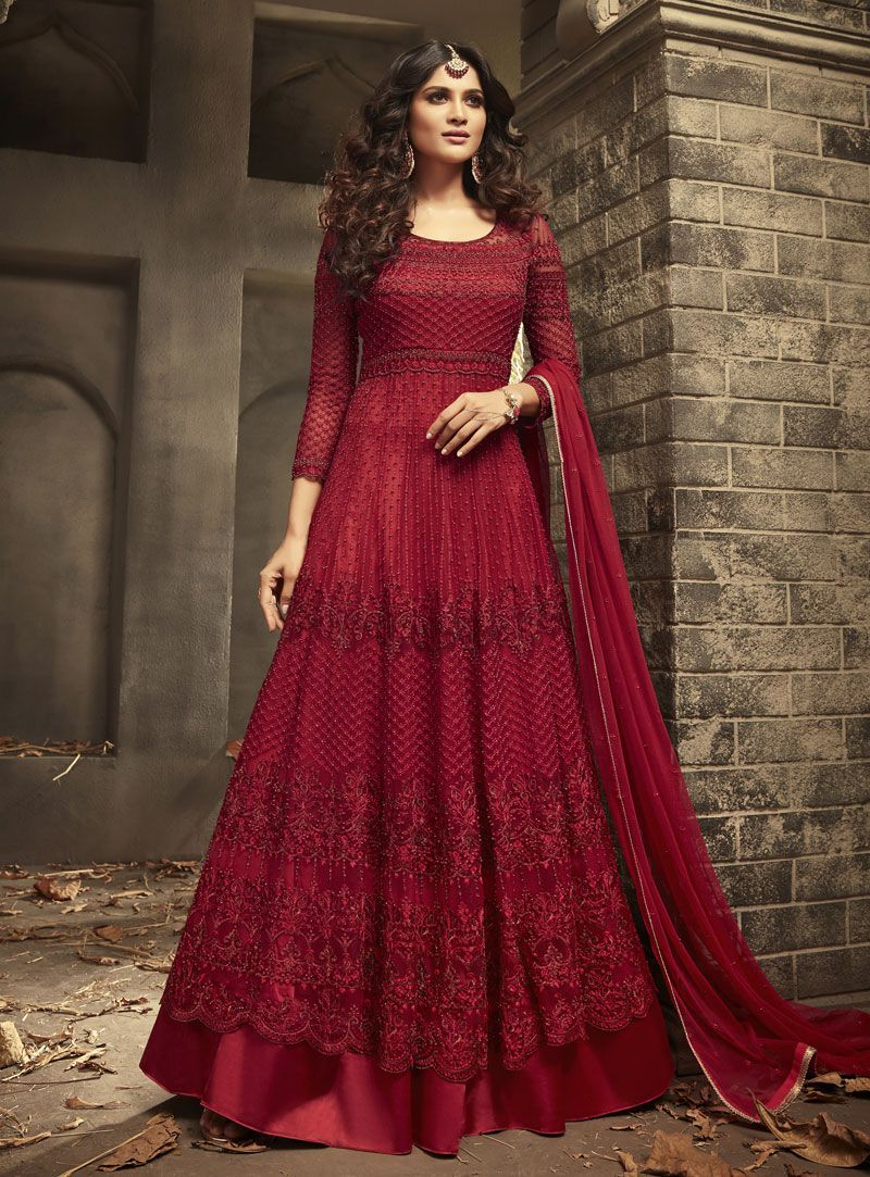 b080db39f1 Maroon Indian hand work net wedding wear anarkali suit 56001 ...
