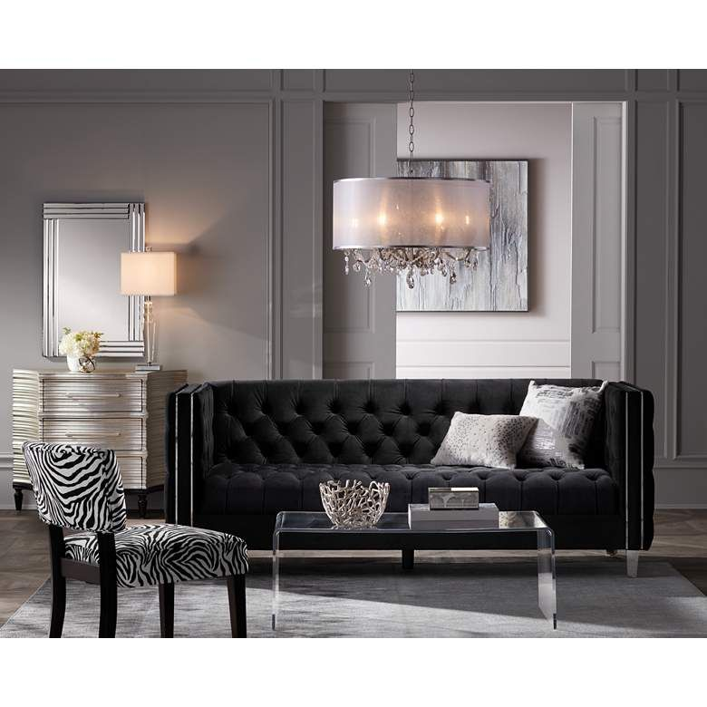 Gloria Luxe Crystal Table Lamp By Vienna Full Spectrum 80n99 Lamps Plus In 2021 Black And Silver Living Room Crystal Table Lamps Silver Living Room