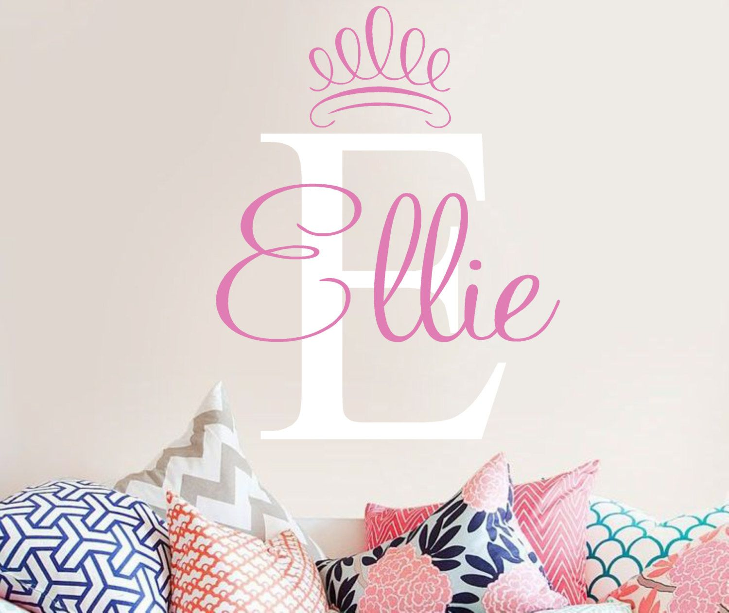 Personalized name and initial with princess crown vinyl wall decal