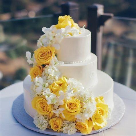 White Cake with Yellow Flowers | Luxury Estate Weddings ...