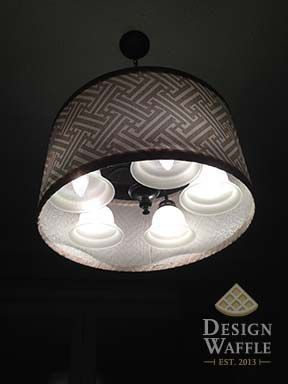 Diy chandelier add lamp shade over existing light fixtures diy chandelier add lamp shade over existing light fixtures mozeypictures Choice Image