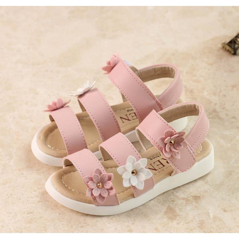 7f6ccbb1deaf 2017 summer New Style Kids baby Children Sandals fashion korean big flower  Girls Flat pricness beach Shoes 998