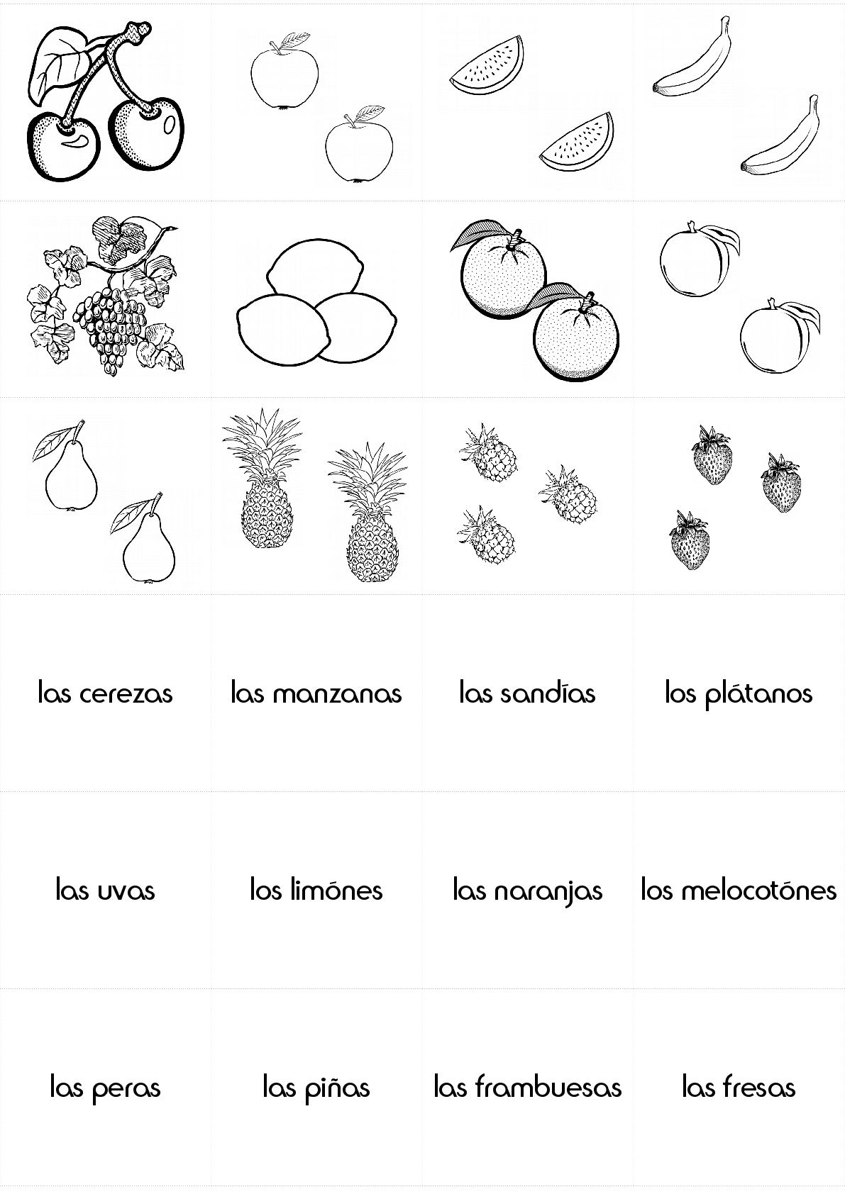 Food Fruits In Spanish