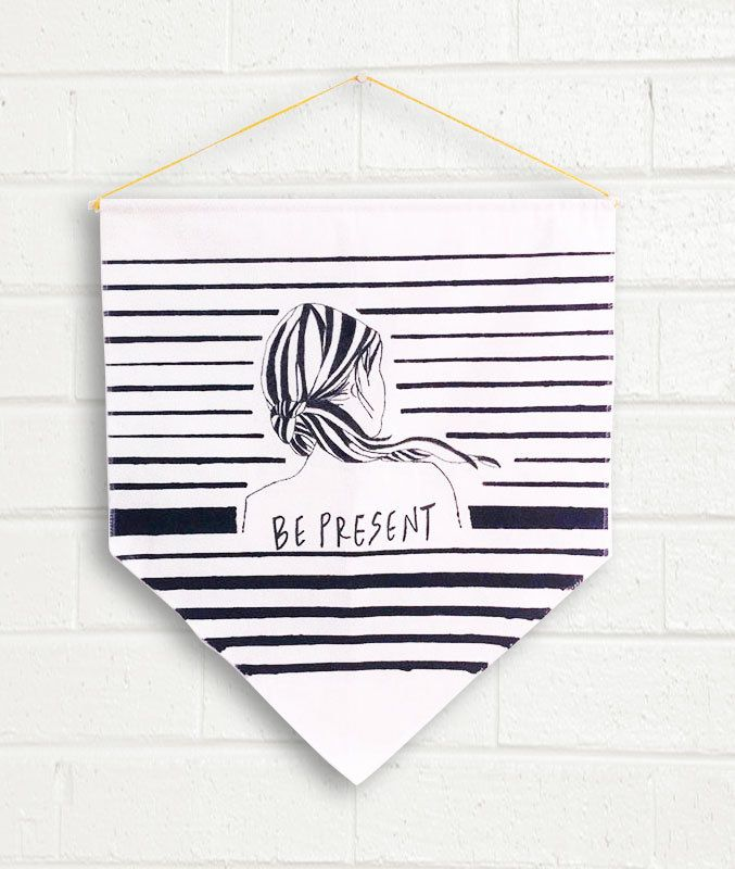 be present one piece banner flag fabric painted woman illustration