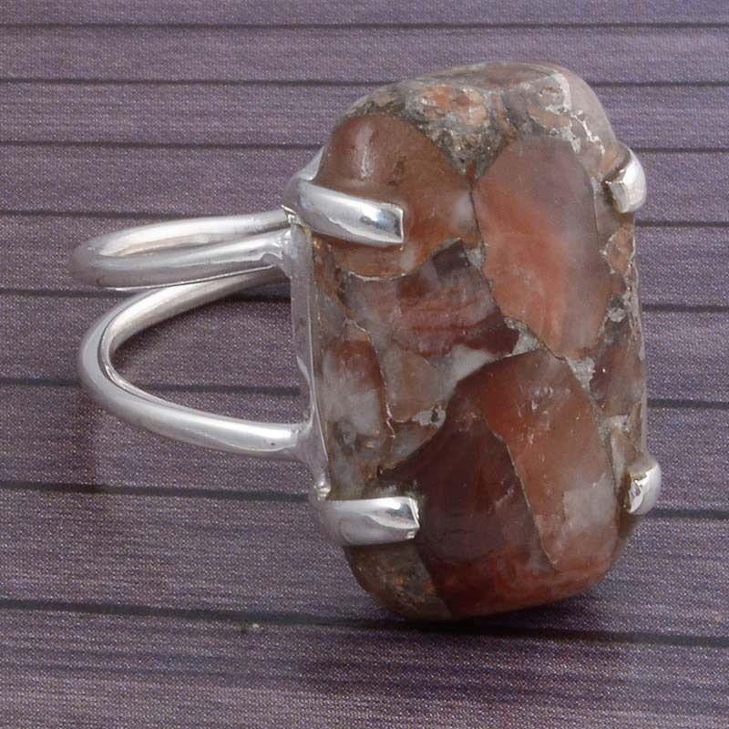 925 STERLING SILVER COPPER TURQUOISE GEMSTONE ANTIQUE RING 6.11g DJR3438 #Handmade #Ring