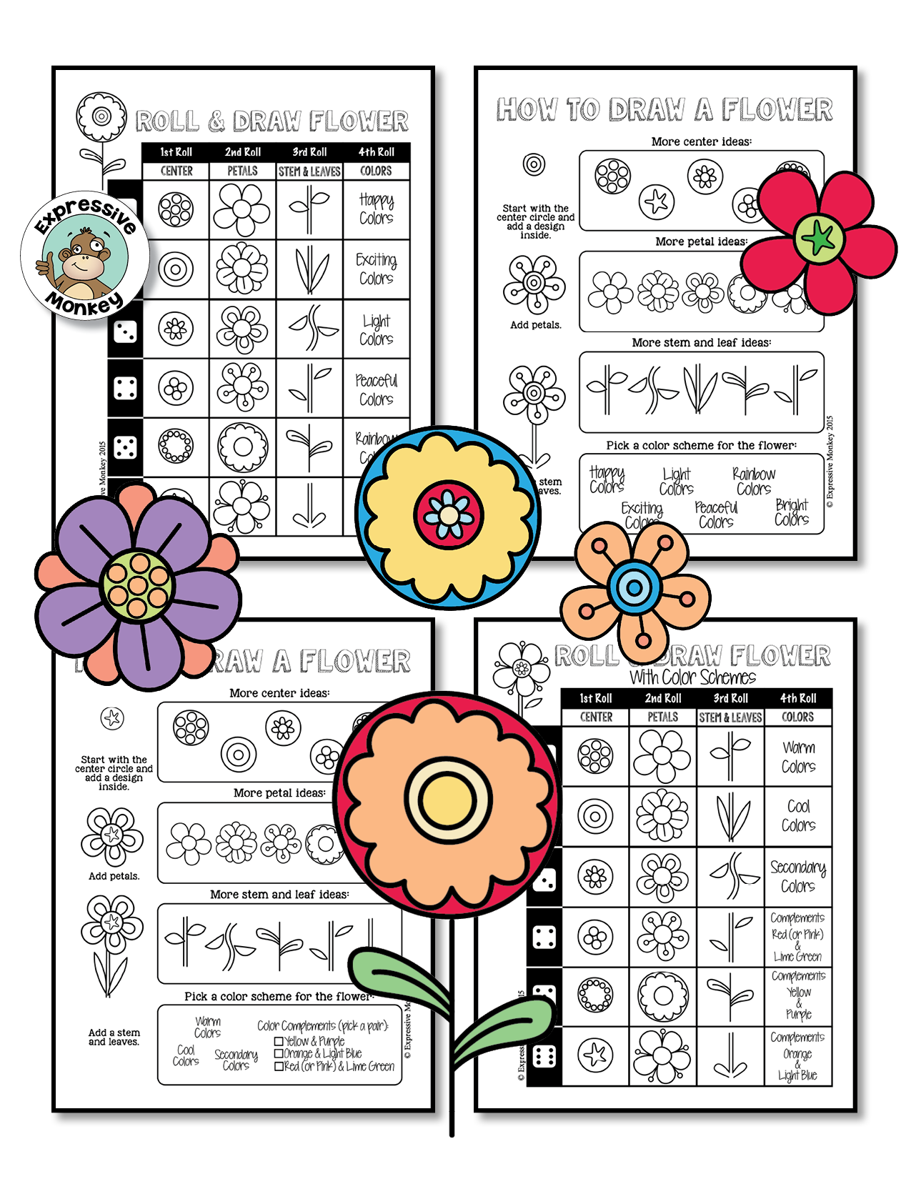 Summer drawing fun from expressive monkey teach color Teach me how to draw a flower