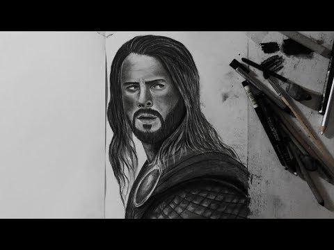 كيفية رسم كريس هيمسورث بالفحم How To Draw Chris Hemsworth