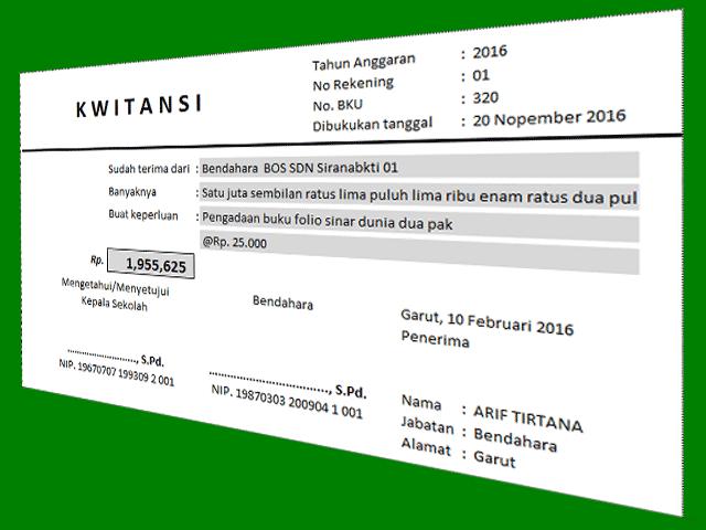 Aplikasi Cetak Kwitansi Data Saya Microsoft Excel