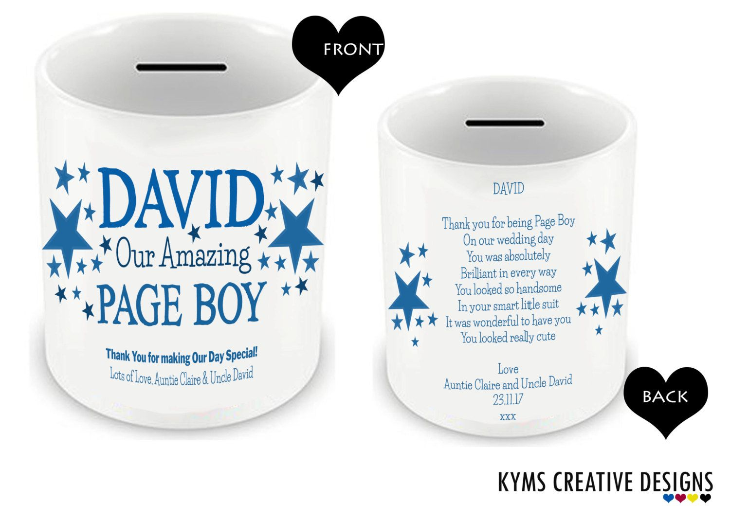 Personalised Ceramic Money Box, Page boy money box, Page Boy Gifts ...