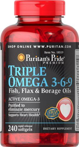 Triple Omega 3 6 9 Fish Flax Borage Oils 240 Softgels Best
