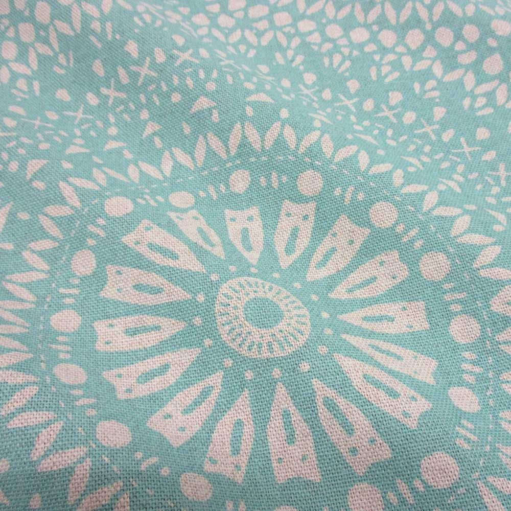 cotton fabric mandala light turquoise linen optic from france stoff meterware meterware und. Black Bedroom Furniture Sets. Home Design Ideas