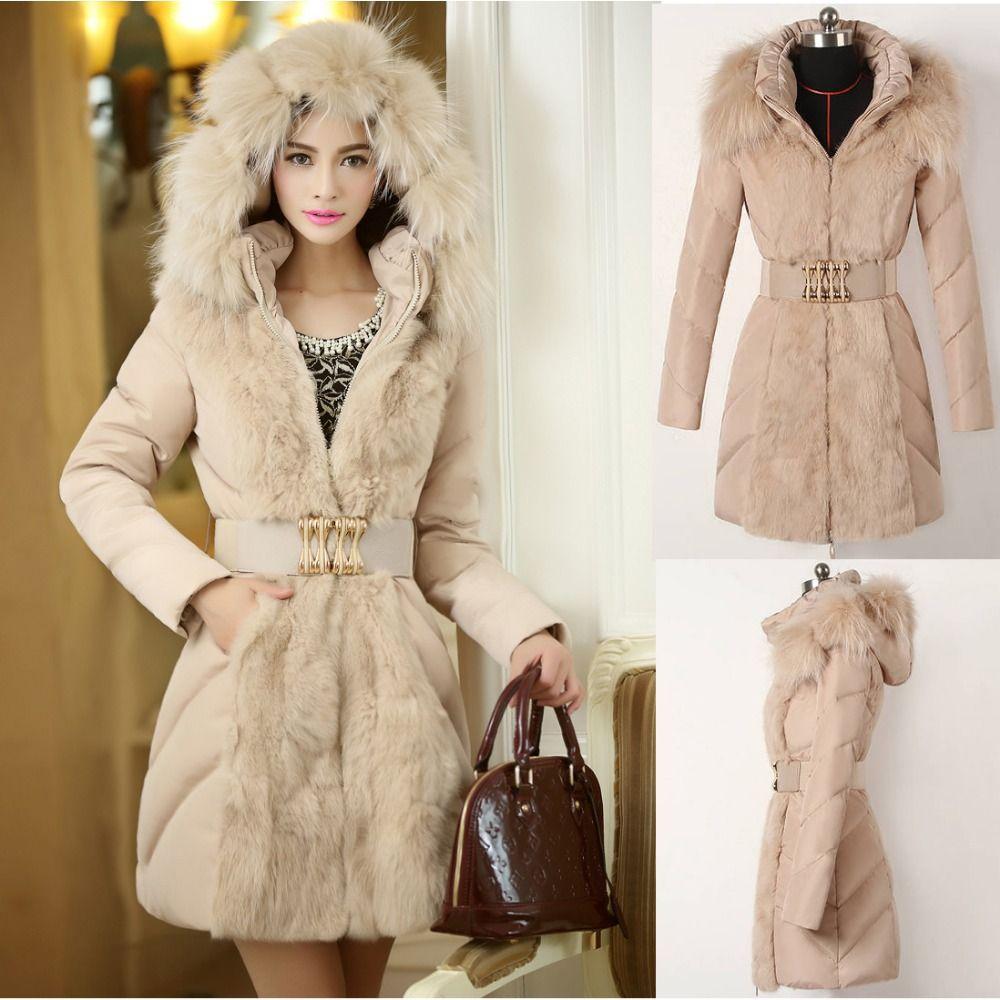 Winter Slim Warm Long Duck Down Jacket Luxury Big Fur Collar & Cap ...