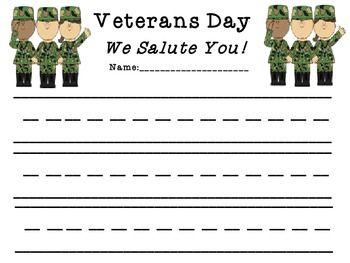 Veterans day writing paper