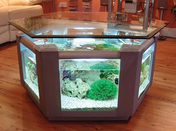 Hexagonal Large Coffee Table Fish Tank Fish Tank Coffee