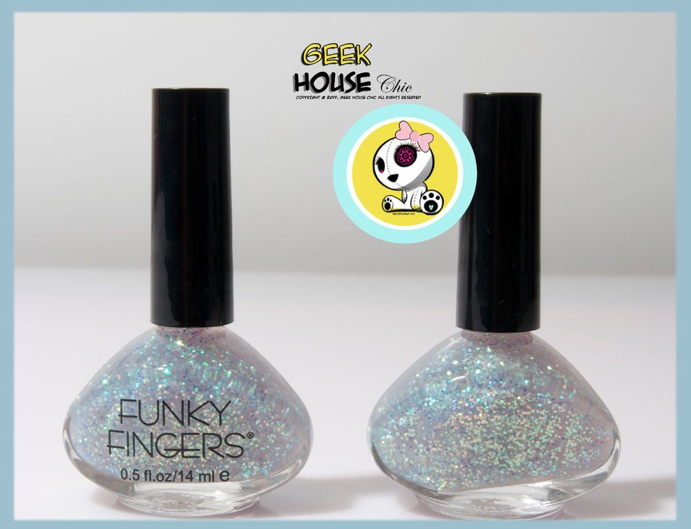 EXTREMELY RARECLEAR BASE Funky Fingers UP ALL NIGHT Glitter NAIL POLISH
