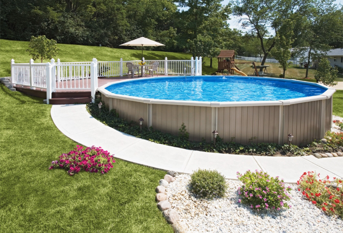 Semi inground swimming pool kits pool ideas pinterest for Above ground pool decks and landscaping