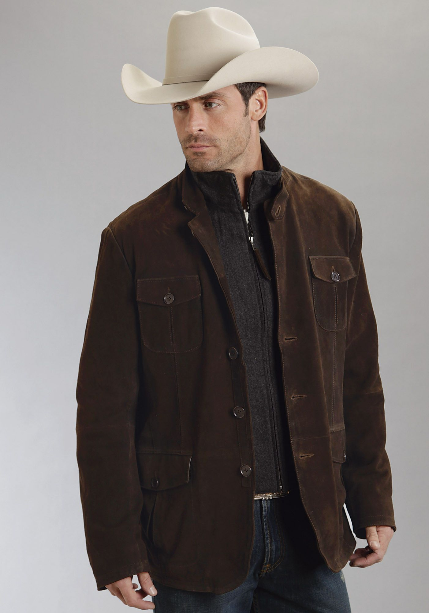 Stetson Mens Brown Lamb Suede Leather Jacket Wool Lined Button Suede Shirt Mens Western Wear Western Jacket [ 2000 x 1402 Pixel ]