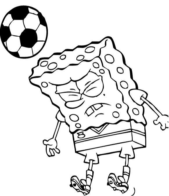 Spongebob Serious Playing Football Coloring Page | Art | Pinterest ...
