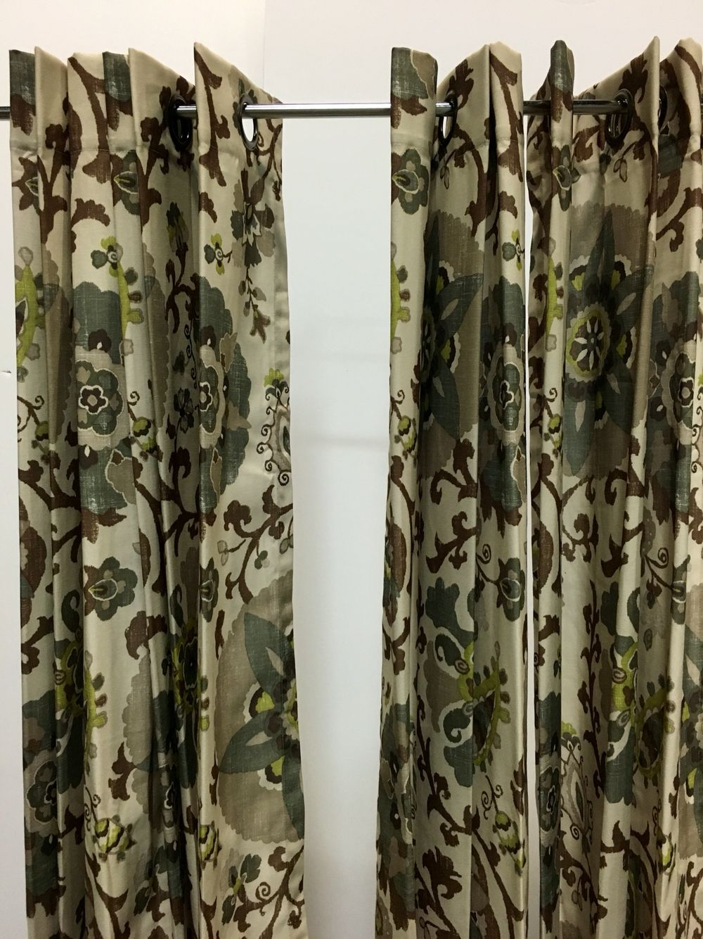 Green Brown Floral Curtain Panels X4 Floral Curtains Panel