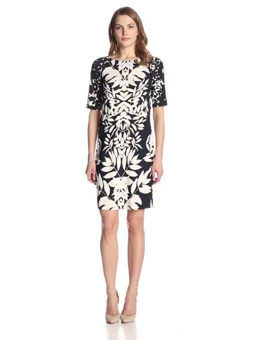 Adrianna Papell Women's Combo Print Short Sleeve Shift at Amazon Women's Clothing store