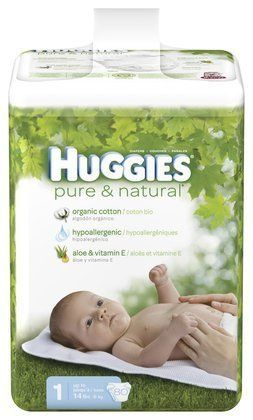 Huggies Pure & Natural Diapers Big Pack Size 1 80ct. by Huggies. $23.27. Huggies Pure & Natural DiapersA gentle touch of nature HUGGIES Pure & Natural Diapers offer your baby the gentle touch of nature, with organic cotton, aloe and vitamin E. Plus, HUGGIES Pure & Natural Diapers are more absorbent than Pampers Swaddlers with Dry Max. • Newborn size features an umbilical cord cut-out gently to protect baby's belly button as it heals• Organic cotton outside, s...