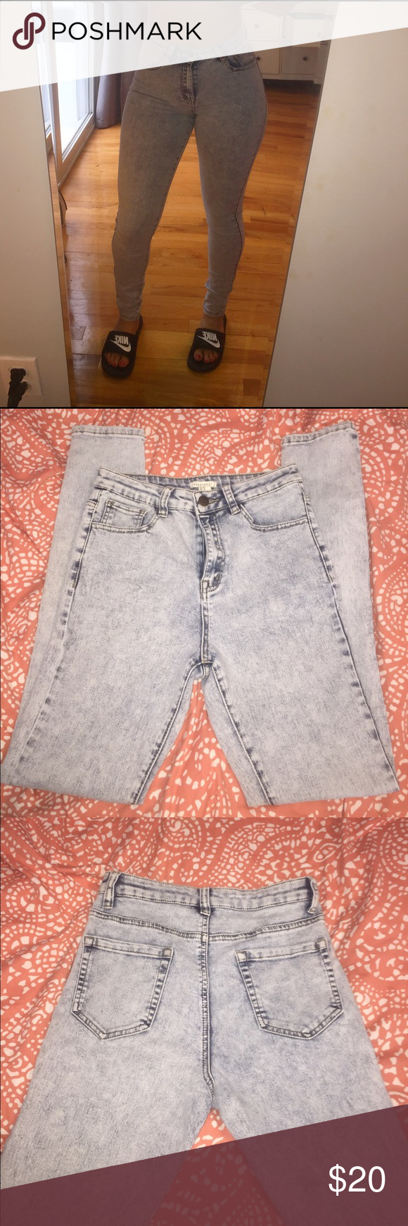 High-waisted Bleach Washed Jeans Stretchy , comfortable , every day jeans , jegging style Forever 21 Jeans Straight Leg
