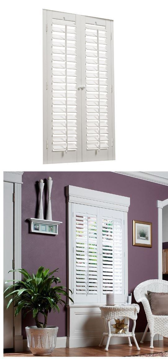 Shutters 66799: Plantation White Faux Wood 35 X 36 Interior Shutter Window  Panel Allen Roth