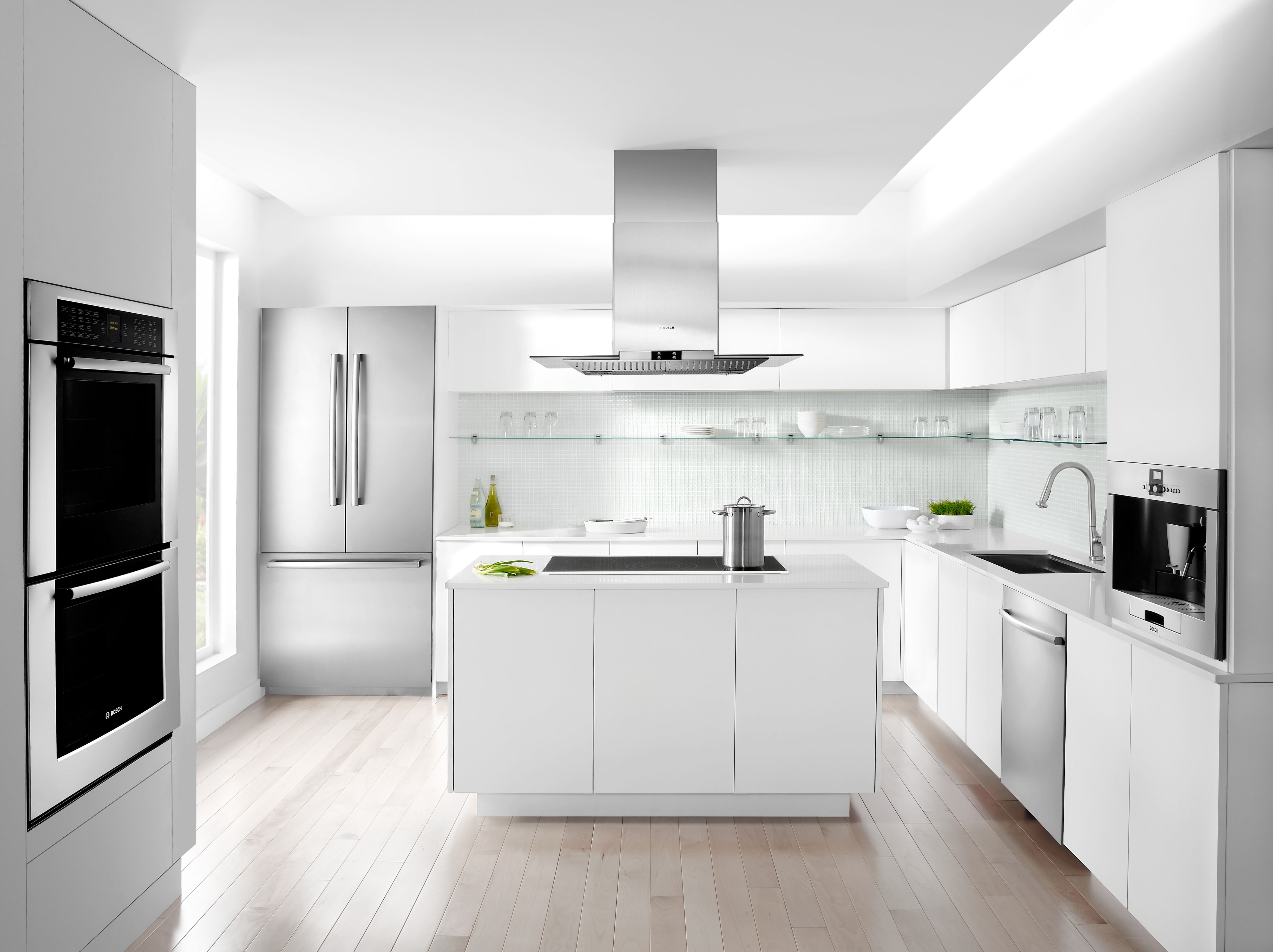 Contemporary Kitchen Flat Panels On Cabinetry Wall Install On Oven Check Out The Built In Coffe White Kitchen Design Modern Kitchen Design Kitchen Design
