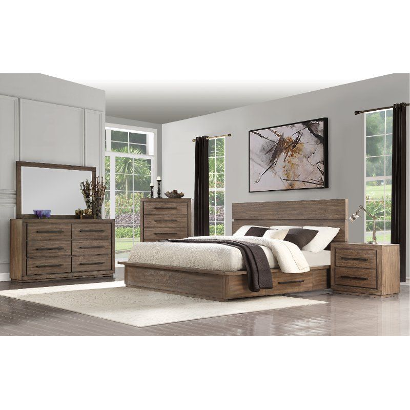 Clearance Modern Rustic Pine 4 Piece King Bedroom Set ...