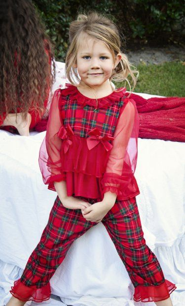 fad02d572a Girls Fancy Christmas Pajamas with Sheer Sleeve 12 Months to 6 Years at  www.cassiesclosetinc.com