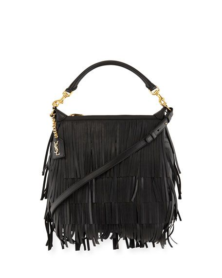 3bfe9191a2b BGS16_V30EN Yves St Laurant, Black Handbags, Leather Fringe, Hobo Bag,  Purses,