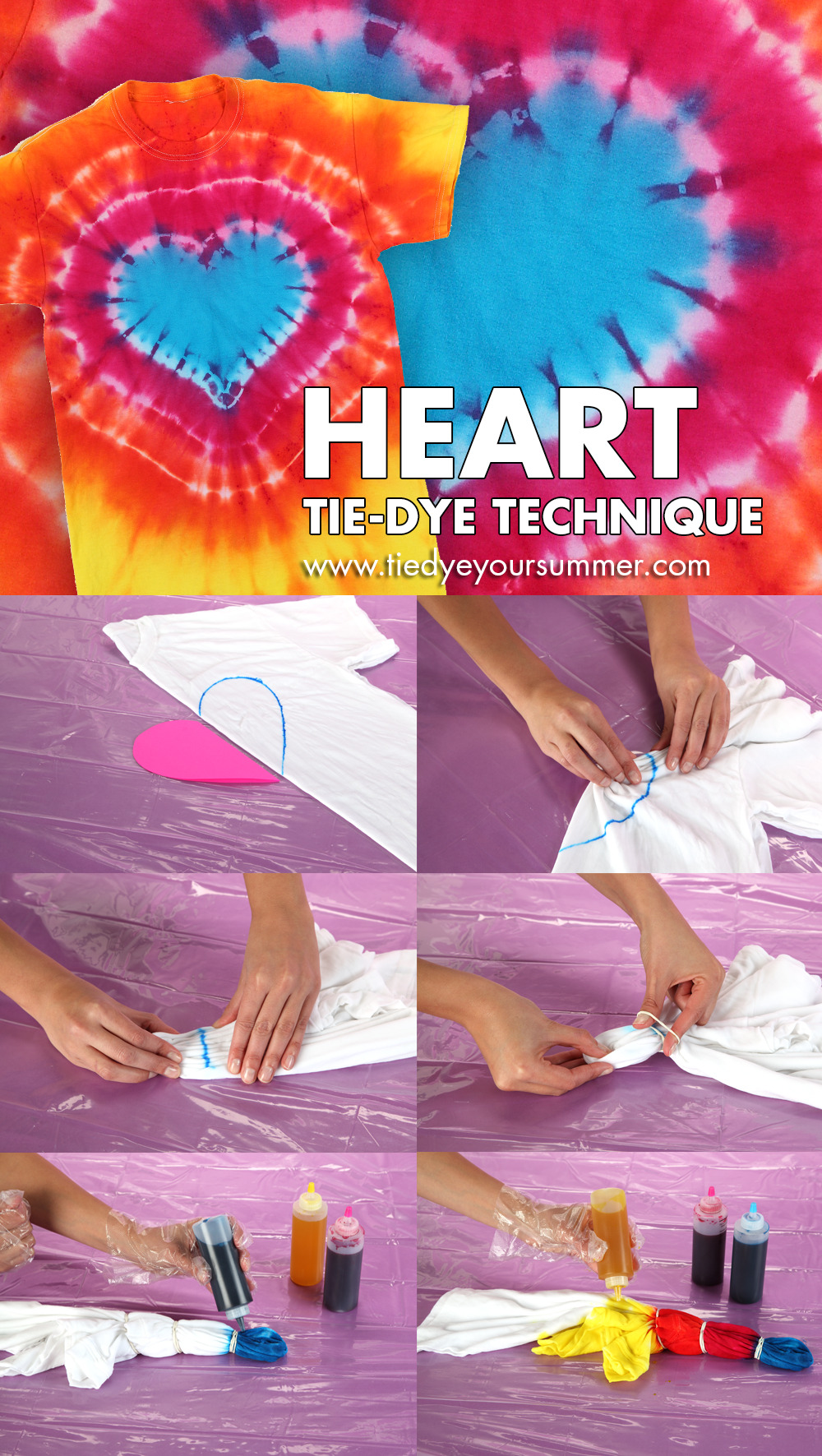 5acfa93f6aa0 Heart Tie Dye Technique Pattern. Make this cool technique using Tulip One-Step  Tie-Dye!