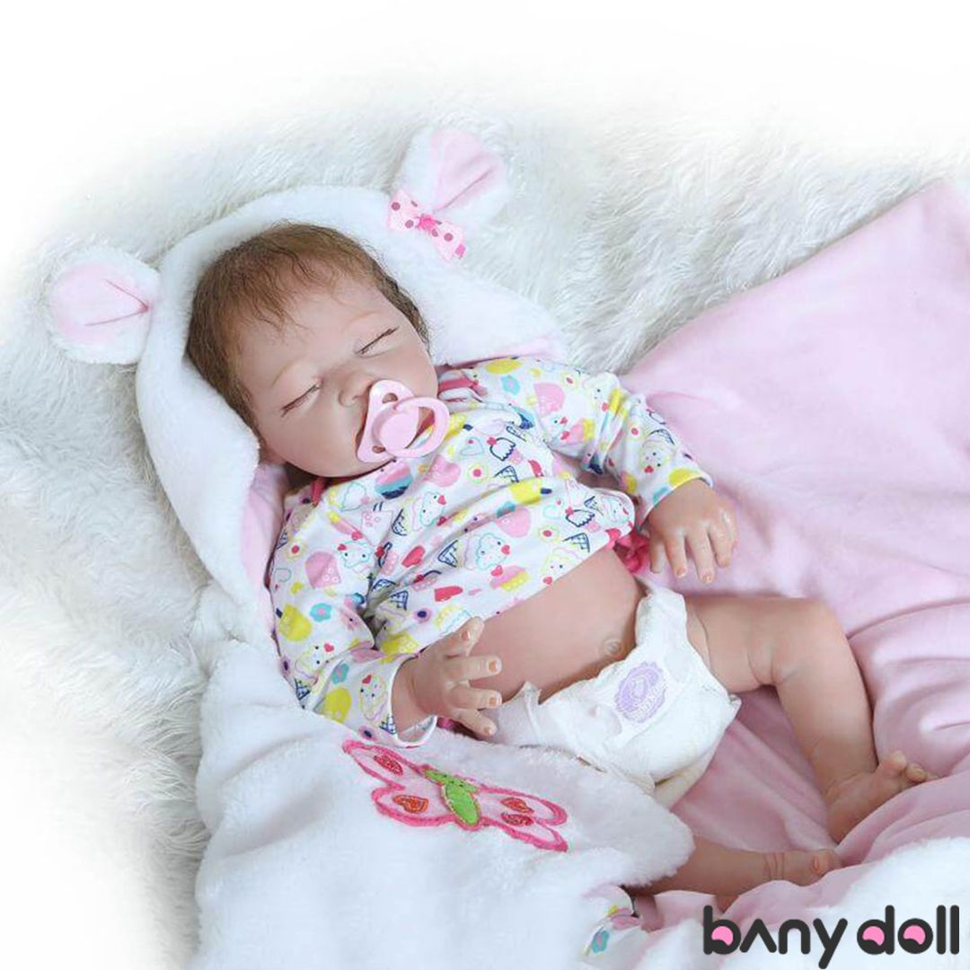 Cute Lifelike Toddler Girl Doll Handmade Vinyl Silicone Reborn Baby Dolls 22Inch
