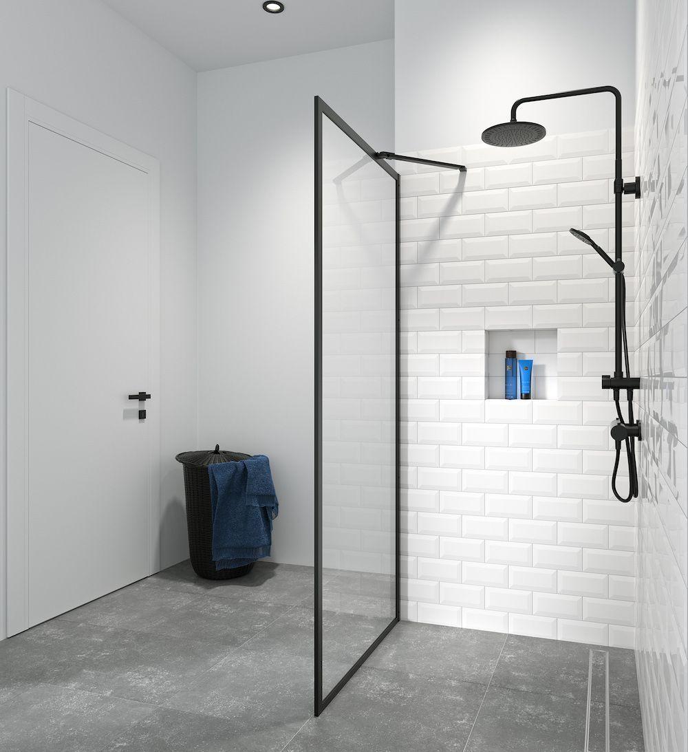 Douchewanden Met Minimalistische Look Badkamer Zwart