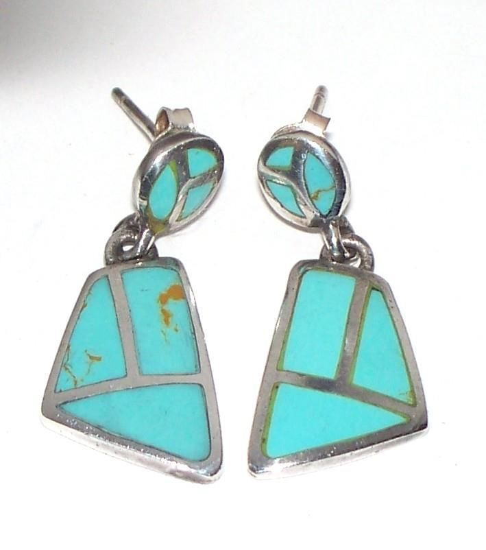 Vintage Zuni Inlaid Turquoise and Sterling Silver Signed Dangle Earrings 2 Pcs