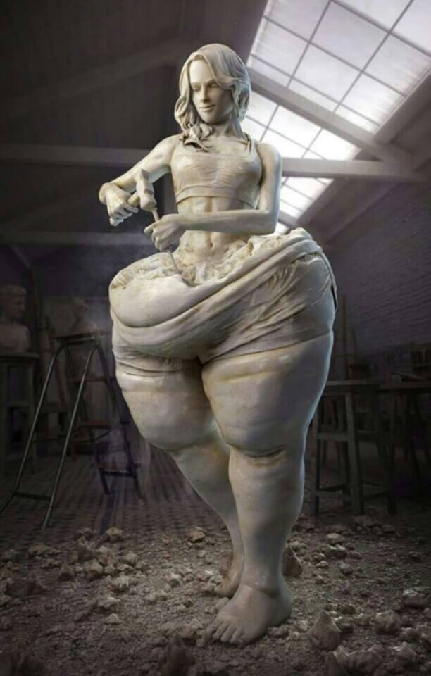 Image result for thin woman inside sculpture
