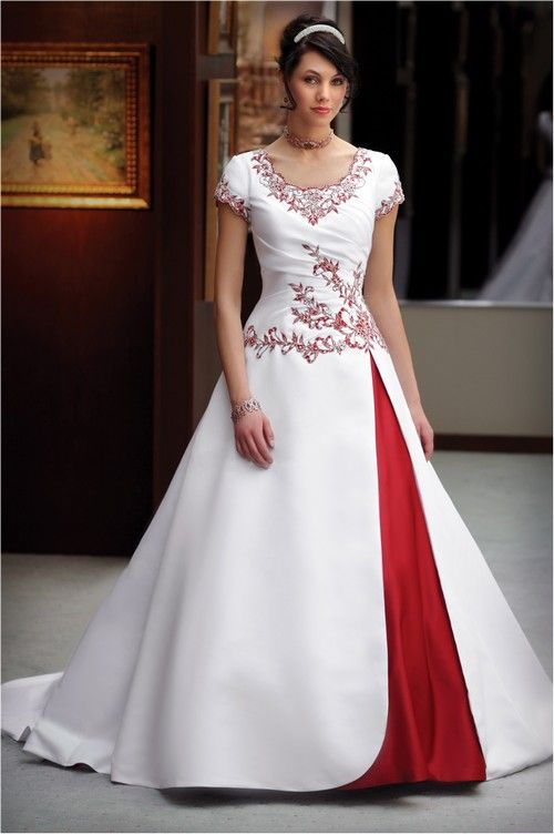 White And Red Combination Of Silk Dress With Half Selves In Frock