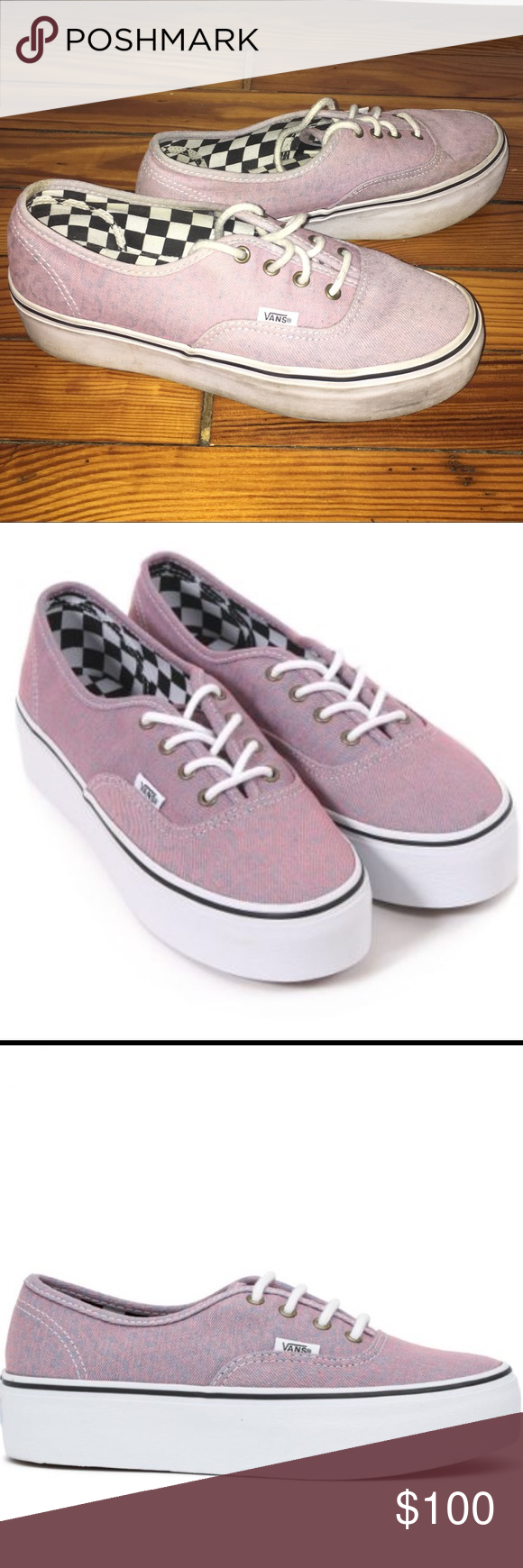 774b512372 Vans Platform Acid Wash Pink Denim Sneakers RARE Authentic Platform Vans in  Pink Acid Wash Denim
