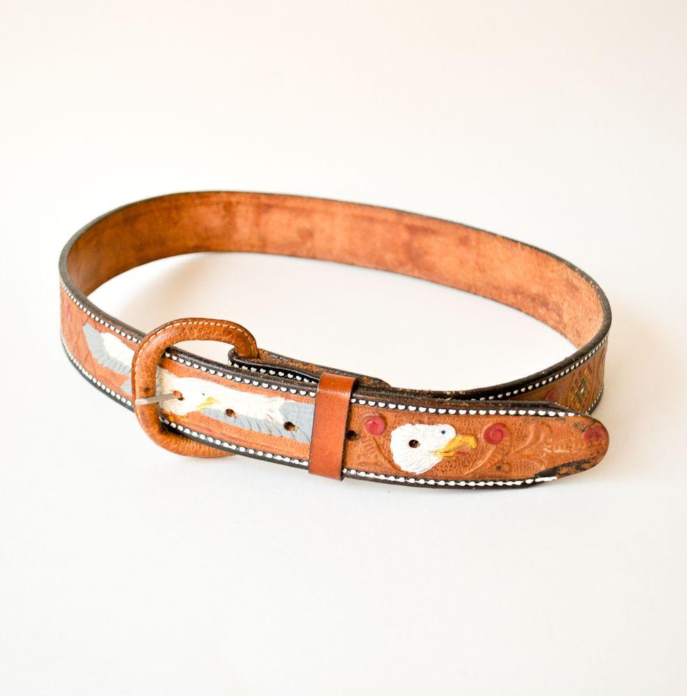 vintage tooled leather belt - eagles