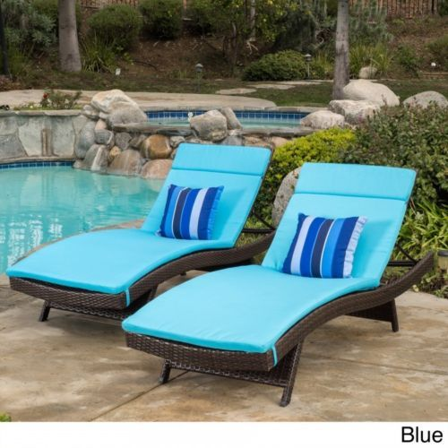 Chaise Lounge Chair Cushion Mattress Set 2 Outdoor Waterproof Patio Pool Lt  Blue