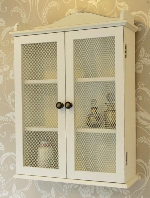 White Mesh Cabinet Wall Unit Storage Shabby Vintage Chic Shelf Bathroom Kitchen Shabby Chic Bathroom Bathroom Wall Units Wall Storage Unit